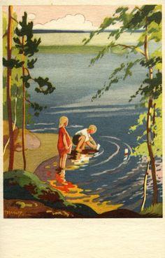 Vintage Postcards, Vintage Images, Baby Painting, Retro Design, Graphic Design, Scandinavian Art, Illustrations And Posters, Children's Book Illustration, Great Artists