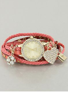 Leather Charm Bracelet Watch from P.S. I Love You More Boutique
