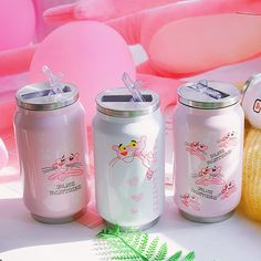 The Pink Panther Flip-top Can Vacuum Water Bottle ml ●Material: stainless steel+pp. time: business days to US, please allow weeks sh Aesthetic Food, Pink Aesthetic, Objet Wtf, Cute Water Bottles, Pink Panthers, Cute Cups, Cute Food, Drinking, Cool Things To Buy