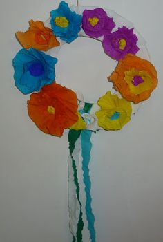 Find out how to make this sweet paper flower wreath at Coco.nut (translated here)! via Creative Jewish Mom Paper Flower Wreaths, Crepe Paper Flowers, Flower Crafts, Flower Art, Fun Crafts, Arts And Crafts, Our Lady, Art For Kids, Creative