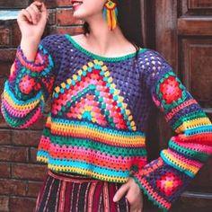 Mode Crochet, Crochet Ripple, Granny Square Crochet Pattern, Crochet Lace, Crochet Jumper, Crochet Cardigan, Granny Square Sweater, Hippie Crochet, Crochet Woman