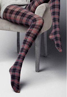 Carmen Tartan Patterned Fashion Tights in Black, Grey and Red by Veneziana at Ireland's Online Hosiery Store DressMyLegs.ie