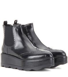 Prada Brogue leather ankle boots Black $139.00