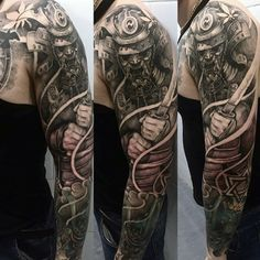 Man With Shaded Samurai Charging Tattoo Full Sleeve