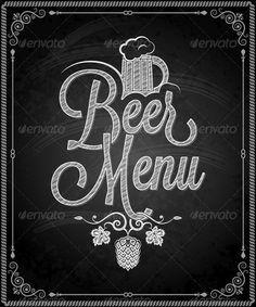 Chalkboard Frame Beer Menu - Food Objects