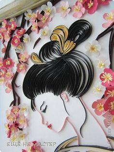 Part 2 of 4---Картина панно рисунок Квиллинг Сакура цветёт Бумага Бумажные полосы фото 4