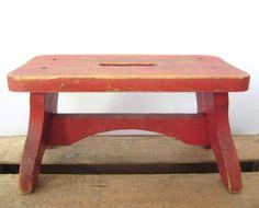 vintage wooden stool child's step stool / bench by zuzuandolive