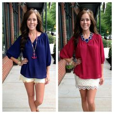 Would you wear red or blue for the 4th? Either way, this top is a great basic!  The Necessity Top, $39.99 (small-large)  Call 803.548.0559 or send us your Paypal email to order!