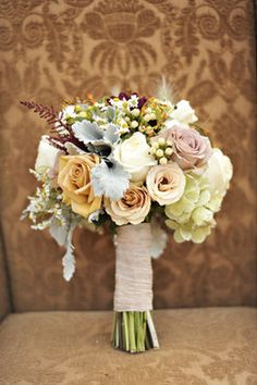 4 - Bridal Bouquet Style | Vintage Inspired Multi-Colored Muted Pastels and Jewel Tones