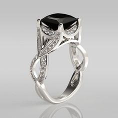 Princess Cut Black Diamond Rhodium Plated Sterling Silver Engagement Ring  #jeulia #blackrings #fashionjewelry