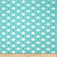 Riley Blake Home Décor Diamonds Aqua from @fabricdotcom  Screen printed on lightweight cotton duck; this versatile fabric is perfect for window accents (draperies, valances, curtains and swags), accent pillows, duvet covers and some upholstery projects. Create handbags, tote bags, aprons and more. Colors include ivory and aqua.