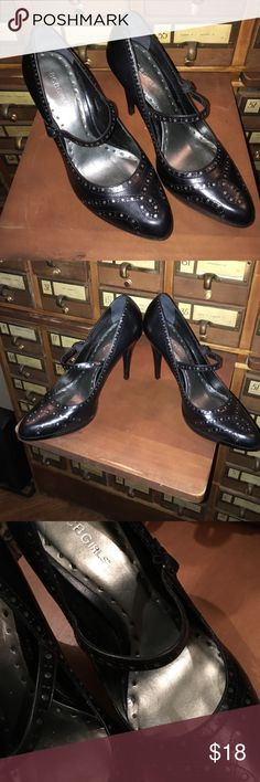"""BCBGirls black, sexy heels Black with silver accent underneath the design. Leather upper. Size 10B, not sure what the B means, I'm a normal 10 and they fit fine just too tall for me as I'm 5'10"""". Great used condition BCBGirls Shoes Heels"""