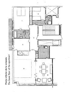 Josep Lluís Sert _ Duplex dwellings, lower floor plan _ Sant Gervasi, Barcelona