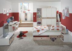 Jugendzimmer komplett Weiß mit Eiche Sägerau 4962. Buy now at https://www.moebel-wohnbar.de/jugendzimmer-komplett-weiss-mit-eiche-saegerau-4962.html