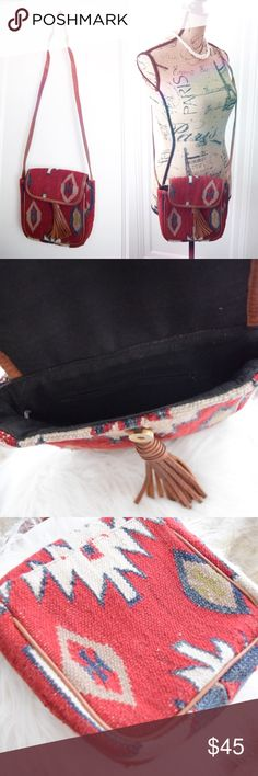 "Tapestry Carpet Southwestern Crossbody Fringe Bag Beautiful vintage woven bag in Southwestern / Navajo print. Great vintage condition. 9"" x 9"" x 2.5"" with 20.5"" strap drop. Crossbody style with fringe leather tassel. Vintage Bags Crossbody Bags"