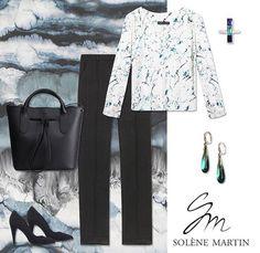 Look de la semaine : blouse ELINE, pantalon ERNESTINE, sac EPHYRE, boucles d'oreille Anka Byanka, bague M.A.STONE et chaussures Minelli - Solène Martin #look #businesswoman #style #marbre #print #vetement #femme #clothing #lotd #ootd #fashionblogger #blog #paris #france #frenchdesigner #createur #lookdelasemaine #soie #noir #sac #chaussures