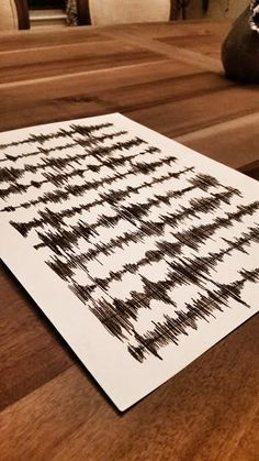 Customized Hand Drawn Sound Wave Art in Charcoal