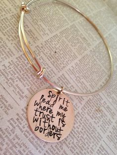 Hand stamped women's gold bronze or silver bangle by erinsmeltz, $20.00
