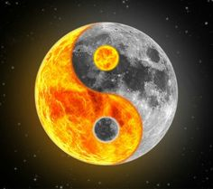 Cool ying yang with sun and moon