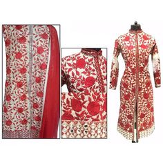 Khazanakart fashion white and red cotton embroidered partywear designer dress materials for women