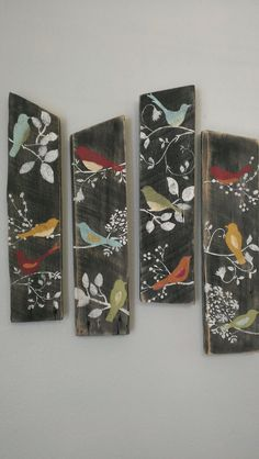 4 Bird Wall Decor Country Custom Order Rustic Shabby Chic Sign Barn Board Wood.