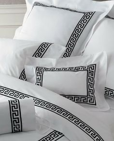 Matouk Embroidered Sheets & Bedding - Greek Key, Colors @ J Brulee Home Monogram Bedding, Bed Cover Design, Greek Key, Design Your Home, Bed Styling, Zara Home, White Decor, Bed Covers, Comforter Sets
