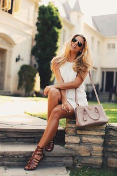 Busy days call for a simple yet stylish outfit, such as a white casual dress. Dark brown gladiator sandals will contrast beautifully against the rest of the look.  Shop this look for $51:  http://lookastic.com/women/looks/white-casual-dress-and-pink-leather-crossbody-bag-and-dark-brown-gladiator-sandals/2966  — White Casual Dress  — Pink Leather Crossbody Bag  — Dark Brown Gladiator Sandals