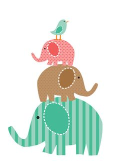 pink/brown & green : Idea for nursery wall art. applique elephants/birds then do embroidery writing. Elephants would look cute holding a bunch of balloons. Elephant Family, Elephant Love, Elephant Art, Applique Patterns, Quilt Patterns, Cute Clipart, Quilting, Cute Images, Cute Illustration