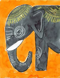 Elephant Drawing Tutorial. Watercolor and crayon resist.
