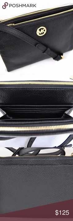 "NWT Michael Kors Fulton Crossbody Bag Item: Michael Kors Fulton Crossbody Bag Messenger Purse / Condition: New with tags, without box and dust bag / Color: Black / Details: EXTERIOR (2 top zipper closure pockets, gold-tone hardware, 1 slip pocket) INTERIOR (2 slip pockets, 1 bill compartment, 6 card slots) APPROXIMATE MEASUREMENTS (9"" x 6.5"" x 1.5"" Strap Drop: 21.75"" to 25"" adjustable) Michael Kors Bags Crossbody Bags"