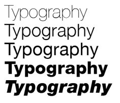 The weight of a typeface is how heavy the strokes are in each character, as shown in this picture