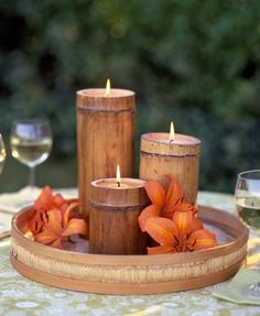 Outdoor Lighting Ideas DIY bamboo candles add a tropical feel to outdoor reception tables