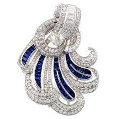 Elegant Diamond and Sapphire Scroll Pin  USA  1945