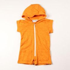 Cute Orange French Terry Onesie with zipper and hood, by Monkey Mc Coy