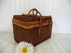 Vintage Rectangular Two Tone Wicker Woven 4 Handled Basket - Rustic Sewing / Crafters / Picnic / Lunch Tote - Handy Bamboo Storage Carry All