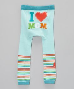 Take a look at this Light Blue 'I Love Mom' Leggings by Doodle Pants on #zulily today!