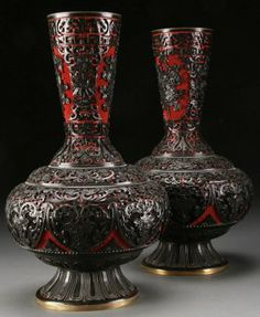 Pair Chinese Two Color Cinnabar And Bronze Vases