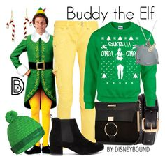 """""""Buddy the Elf"""" by leslieakay ❤ liked on Polyvore featuring H&M, River Island, Balmain, Mammut, INDIE HAIR, disney, disneybound and disneycharacter"""