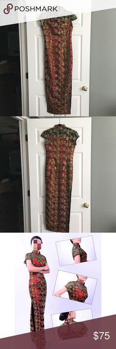 """🆕 Cheongsam Chinese Dress Red/Gold/Black S Brand new. Fits a size XS-S. Shoulder to shoulder is 16"""", bust is 15.5"""" across, waist is 14.5"""" across, slit is 23.5"""", shoulder to hem is 51.5"""". Purchased in Hong Kong for my wedding but I decided on another dress. Last two are stock photos. 😺🐶 Comes from a smoke-free, but not pet-free home. 🚫 No trades. No holds. 📦 Fast shipping! 🙋🏻 Considering all reasonable offers! Dresses"""