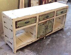 Mueble Tv Lcd Led Madera Mesa De Arrime Rusticos Patinado - $ 5.900,00 en Mercado Libre