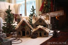 Christmas houses makes great centerpieces.