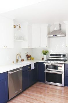 "!""We used the basic white shaker style cabinets and then did a light sand and painted them (GS's white color is an off-white, cream tone). Countertops are from Pius – they are a white Quartz with a little bit of gray marbling.""-the-grit-and-polish-6-day-kitchen-large"