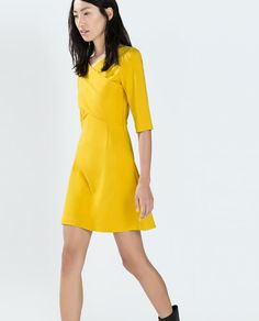 Image 4 of FITTED DRESS WITH CROSSOVER NECKLINE from Zara
