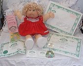 Cabbage Patch Doll  Miranda, Xavier Roberts,  Doll 1980 Cabbage Patch Doll  Dimples Cabbage Patch Doll, Paper work Cabbage Patch Doll,