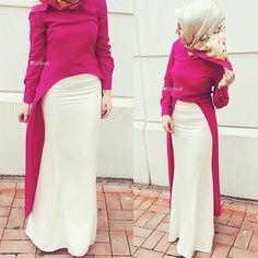 ️ The fuschia dress for special days and everyday life … - Dress Hajib Fashion, Abaya Fashion, Modest Fashion, African Fashion, Fashion Dresses, Muslim Women Fashion, Islamic Fashion, Mode Hipster, Fuschia Dress