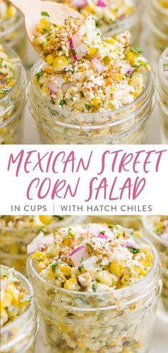 mexican street corn A super flavorful Mexican street corn salad made with roasted Hatch chiles, served in small cups for parties or BBQs. Made with roasted corn, Hatch chiles, mayon Mexican Snacks, Mexican Food Recipes, Whole Food Recipes, Vegetarian Recipes, Fast Recipes, Corn Salad Recipes, Corn Salads, Party Food Platters, Food Dishes