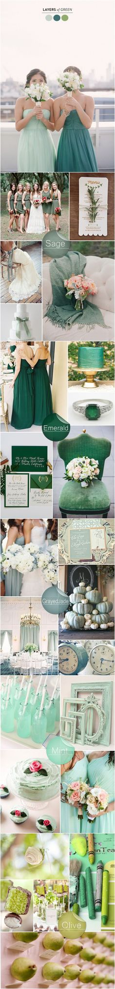 6 Perfect Shades of Green Wedding Color Ideas 2015 Trends #weddingcolors #weddingideas