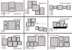 Resultado de imagem para como colocar quadros de tamanhos diferentes na parede