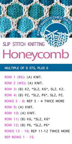 Honeycomb - Knitting Stitches free instructions and pdf Sewing is good and ve. Honeycomb – Knitting Stitches free instructions and pdf Sewing is good and very useful. Types Of Knitting Stitches, Slip Stitch Knitting, Knitting Stiches, Knitting Kits, Loom Knitting, Knitting Patterns Free, Baby Knitting, Stitch Patterns, Free Pattern