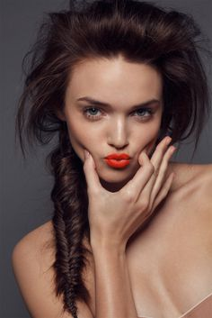Dewy Skin, Fresh Skin, Orange Lipstick, Orange Manicure Braided Hair- Nika lauraitis Model Beauty Editorial | NEW YORK FASHION BEAUTY PHOTOGRAPHER- EDITORIAL COMMERCIAL ADVERTISING PHOTOGRAPHY